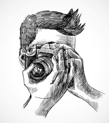 Photographer with digital photo camera sketch portrait vector illustration